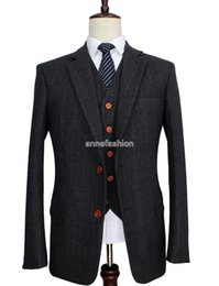 Wholesale Tailor Made Wool Suits - Wool Dark Grey Herringbone Tweed tailor slim fit wedding suits for men Retro gentleman style custom made mens 3 piece suit