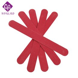 Wholesale red nail file - Wholesale- 5pcs lot Wood RED Nail File & buffer salon Manicure Pedicure double sides Sanding Files Crescent Sandpaper Grit Nail Art tools