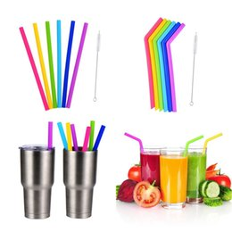 Wholesale Rubber Bends - 6pcs set with brush,25CM lenght silica gel drinking straw silicone straw for children ,recycleable bent straight sucker