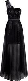 Wholesale One Shoulder Dress Transparent - 2017 New Sexy Long Cheap Prom Dresses Party Formal Plus Size Tulle Evening Gown One Shoulder Sequin Leaf Applique Transparent Cocktail Dress