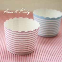 Wholesale Mini Baking - Cake Mould Cupcake Tool Mini Muffin Baking Cups Blue and Pink Bands Cupcake Wrapper, Cupcake Liners Greaseproof Paper Cases