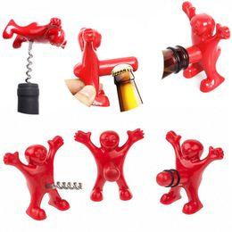 Wholesale Soda Stopper - New Kitchen Bar Red Fun Happy Man Wine Beer Soda Bottle Openers Multifunction Wine Openers Bottle Novelty Opener Stopper IC546