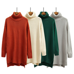 Wholesale Women Winter Long Coats Cheap - Wholesale-Cheap Sweaters Womens Turtleneck 2016 Winter Loose Soft Long Sleeve Coat Female Knitted Jumpers Plus size Pullover Sweater