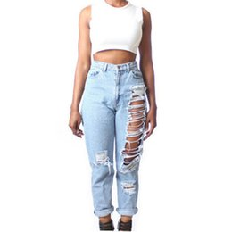 Wholesale Jeans Loose Legs For Women - 2018 Ripped Denim Jeans For Women Hot Fashion Straight Leg Jeans Cool Club Party Pants Bottoms BSF0321