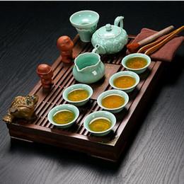 Wholesale Chinese Porcelain Mug - 20pcs Set Chinese Travel Kung Fu Tea Set Ceramic Portable Teacup Porcelain Service Gaiwan Tea Cups Mug of Tea Ceremony Teapot High end 008