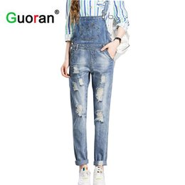 Wholesale Sexy Destroyed Jeans - Wholesale- {Guoran}2017 Women Ripped Hole Denim Jumpsuits Ladies Sexy Jeans pants Casual Romper women destroyed jeans overalls plus size