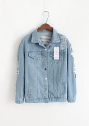 Wholesale Korea Slim Women Coat - Where is my mind? Korea retro washing frayed embroidery letter patch jeans bomber jacket Light Blue Ripped Denim Coat Daylook