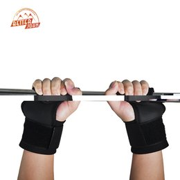 Wholesale Weight Lifting Wrist Support Hook - Wholesale- Pair Adjustable Fitness Wrist Support Weight Lifting Hooks Sport Training Gym Grips Straps Support Gloves
