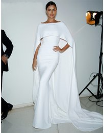 Wholesale Modern Cotton Dresses - White Long Mermaid Arabic Evening Party Dresses With Cape 2017 Dubai Kaftan Formal Women Prom Gowns White vestido de festa