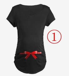 Wholesale Blouse New Maternity - New Pregnant 3D Big Bow Tops Tees Maternity Casual Shirts Summer Soft Cotton Tanks Short Sleeve Slim Blouse Pregnancy Women Clothes
