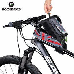 Wholesale Green Tube Top - Factory outlets Bicycle Front Top Tube Bag Cycling Bike Frame Saddle Package For Mobile Phone Waterproof Touchscreen Bike Accessories