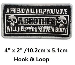 "Wholesale Vest Military - 4"" MILITARY A BROTHER WILL HELP YOU MOVE Biker Vest Hook & Loop Patches For Clothing Embroidered MORALE MILSPEC MILITARY SWAT"