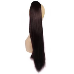 Wholesale Blonde Claw Hair Extensions - Wholesale- 24Inch Claw Ponytail Drawstring Ponytail Fake Hair Extensions 150g Blonde Pony Horse Tress Straight Synthetic Hair Tail