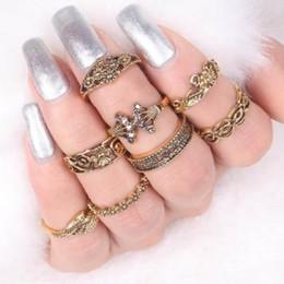 Wholesale Antique Engraved Ring - Vintage Ring Sets Antique Silver Gold Filled Elephant , Engraved Cut Out Leaf 8 pcs Womens Knuckle Ring Sets Fingernail Ring Sets