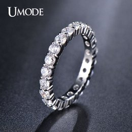 Wholesale Round White Diamond Band - UMODE Wedding 3mm 0.1 Round CZ White Gold Plated Simulated Diamond Eternity Ring Bands New Jewelry for Women Bague UR0279