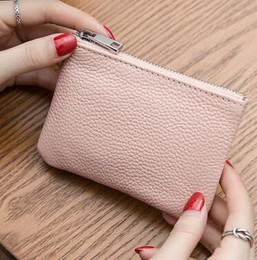 Wholesale Cowhide Coin Pouch - 2017 Genuine Leather Coin Purse Women Small Wallet Red black pink yellow Mini Zipper Pouch 4 colors