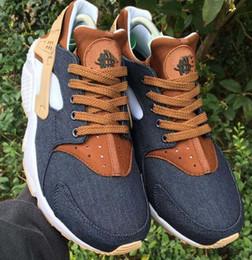sneakers marron pour femmes Promotion 2017 Nouvelle arrivée Drop Shipping En Gros Célèbre Huarache iD Denim Marron Hommes Femmes Athlétique Sneakers Sport Chaussures De Course Taille 5.5-11