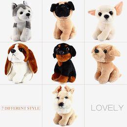 Wholesale cute huskies - 7 Inch Cute Dog Plush Doll Stuffed Soft Animal Toy Husky Pug Dog Stuffed Animals Plush Toy Soft Dolls Children Christmas Gift