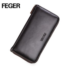 Wholesale Cheap Passport - Wholesale- FEGER Cheap Zipper Wallet Long Type PU Men Wallet Men's Clutch Wallets Brown Handy Bags Business Free Shipping