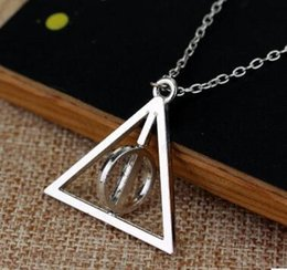 Wholesale New Arrival Necklace Unisex Silver - Silver rotatable Deathly Hallows Pendant Necklace rotatable Deathly Hallows harry potter new arrival