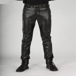 Wholesale Winter Fashion Korea Men - Wholesale- New Arrival Autumn Fashion Mens Black Leather Pants Slim Fit Fashion Korea Motorcycle Trousers Winter Skinny Pants For Man 38