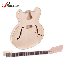Wholesale Diy Kit Guitars - Wholesale-High Quality Unfinished Electric Guitar DIY Kit Semi Hollow Basswood Body Rosewood Fingerboard Maple Neck