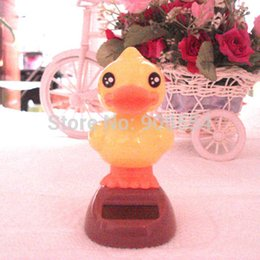 Wholesale Solar Energy Swing - Wholesale-Wholesale 10 Pieces Per Lot Swing Under Full Light Solar Energy Gifts Novelty Car Decoration Solar Powered Dancing Duck