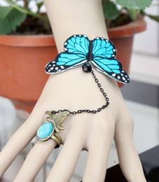 Wholesale Acrylic Butterfly Beads - 3D butterfly bracelet Bijoux Pulseiras Handmade Vintage Gothic Lace Bracelets Bangles Harness Finger DIY Charm Bracelets women Accessories