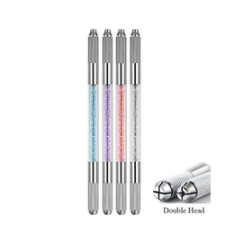 Wholesale Manual Handle - Microblading Handles Flat and Round needle blade tebori pen microblading Holder Double head eyebrow embroidery hand tool