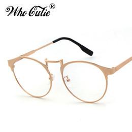 1bdeb4e58bdcb WHO CUTIE Round Clear Fake Glasses 2017 Women Circle Optical Lens Eyewear  Retro Gold Metal Frame Plain Eyeglasses Oculos OM372