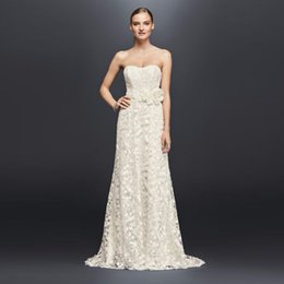 Wholesale Handmade Embroider Flower Dress - Embroidered Lace Wedding Dress with Floral Sash Strapless A-Line Bridal Gowns with 3D Handmade Flowers Sweep Train CR341703