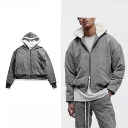 Wholesale Two Way Zippers - autumn and winter of 2017 NEW MENS two-way zipper hoodie high fashion coat with cashmere coat streetwear clothes