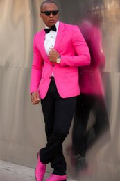 Wholesale Mens Wedding Suits Pink - Wholesale- Two Buttons Slim Fit Groom Tuxedo Hot Pink Mens Suit Best Men Wedding Party Prom Suits Custom Made blazer (Jacket+Pant+Bowtie)