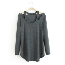 Wholesale Wholesale Off Shoulder Tees - Wholesale-2016 Spring Autumn Women V Neck Cut Out Loose Shirts Casual Off Shoulder T shirt Plus size basic Long Sleeve Tees tops Soft