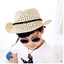 Wholesale Blue Straw Cowboy Hats - A cowboy hat, Summer han edition of private cowboy children breathable baby sun hat shows children straw hats