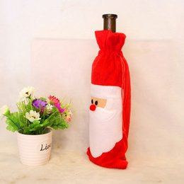 Wholesale Christmas Table Decorations Price - Factory price of Christmas Dinner Table Decoratio Red Wine Bottle Cover Bags Home Party Decors Santa Claus Christmas decoration factory
