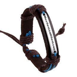 """Wholesale Words Way - 2017 New Fashion English Word """"Where there is a will there is a way"""" Leather Bracelets & Bangles for Women Men Jewelry 160612"""