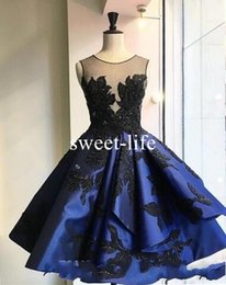 Wholesale Classic Tires - Sexy Backless Royal Blue Short 2017 A line Prom Dresses Scoop sleeveless Lace Appliques Stain Tired Skirts Custom Made dresses evening wear