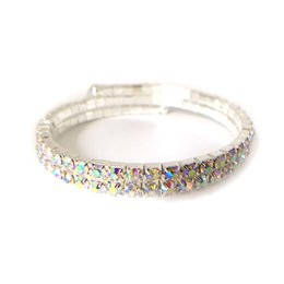 Wholesale Row Stretch Rhinestone Bracelet Crystal - 2 Row Wedding Bridal Spiral Rhinestone Crystal Stretch Bracelets Bangle Silver Plated and Gold Plated Jewelry Accessories for Women