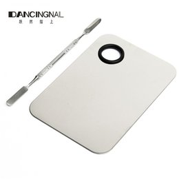 Wholesale Pro Tools Professional - Wholesale- Pro Cosmetic Nail Makeup Mixing Palette Spatula Tool High Quality Professional Stainless Steel Hands-free Matte Packaging
