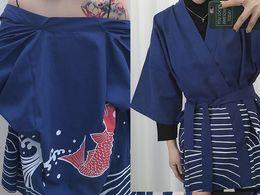 Wholesale Large Kimono - Spring and summer loose kimono personality handsome carp embroidery sun Japanese kimono Loose large yards Men and women cardigan