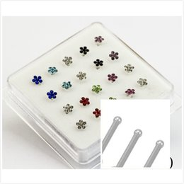 Wholesale Rings Silver Zircon - 20 pcs 925 Sterling Silver Zircon Plum Flower Nose Ring Stud Crystal Body Piercing Silver 925 Jewelry Nose Studs Pireced Jewelry
