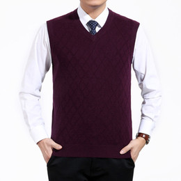 Wholesale Warm Wool Vest - Wholesale- Men's Spring Autumn Short V-Neck Wool Knitted Vest Large Size Sweater Pullover Jumper Jersey Hombre Warm Slimming Formal Clothes