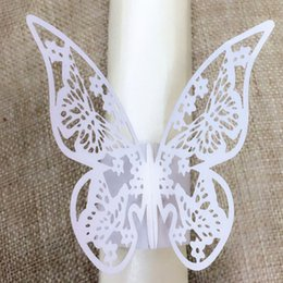 Wholesale Silver Paper Napkin Rings - Wholesale- New Arrival 100pcs lot Silver Butterfly Design Table Paper Napkin Rings For Wedding Party Decoration Porta Guardanapo