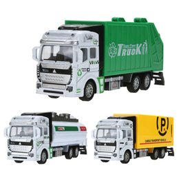 Wholesale Toy Pull Cart - 1:48 Scale Pull Back Alloy Car Model Plastic Watering-cart Rubbish Truck Express Car Toy Mini Simulated Model Truck