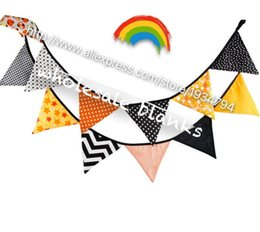 Wholesale Chevron Baby Shower - Wholesale- 12pcs set Cotton Fabric Banners halloween Bunting Decor Birthday Party Baby Shower Decoration Garden easter chevron dot banner
