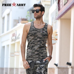Wholesale Ms Tanks - Wholesale- Camouflage Tanks Men O Neck Sleeveless Tops Male Tank Tops Fitness Men's Vests Bodybuilding Singlets Summer Tops & Tees MS-6315B
