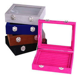 Wholesale Jewellery Ring Trays - Wholesale cheap Glass Jewellery Tray Rings Display Box Storage Earring Organizer Case Showcase