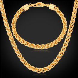 """Wholesale Tin Plated Copper - U7 5MM Wheat Spiga Chain Necklace Bracelet Set Gold Platinum Black Gun Rose Gold Plated 18"""" 22"""" 26"""" Necklace Bracelet Men Jewelry Sets"""