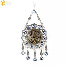 Wholesale Evil Eye Charms Round - CSJA Islamic Ayatul Kursi Koran Quran Pendants Round Evil Eye Bead Silver Plated Pendulum Wall Hanging Muslim Decoration Amulet Jewelry E293
